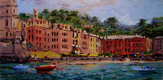 Painting of Italy Beach scene at Vernazza, Cinque Terre, french and italian riviera, Italy R W Bob Goetting Painting of Italy