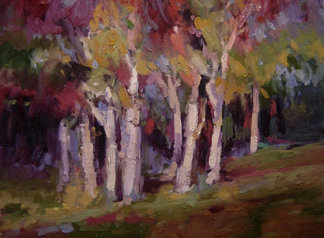 Trees with fall foliage original oil painting R W Bob Goetting