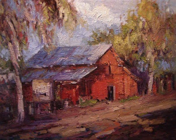 Sunlight on the red barn, paintings of barns, red barns,