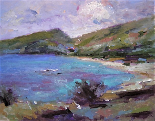 Hanauma Bay sketch, paintings of Hawaii, paintings of Hanauma