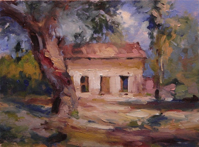 Original oil painting for sale old house in sunlight, oil paintings of old barns