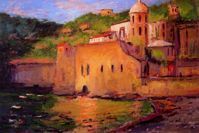 Sunset in Vernazza Italy, painted in a Fauvist style R W Bob Goetting, french and italian riviera