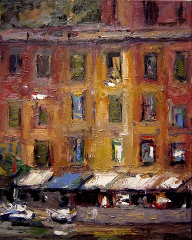 Ancient windows in Portofino Italy. Original oil painting of Portofino Italy, french and italian riviera