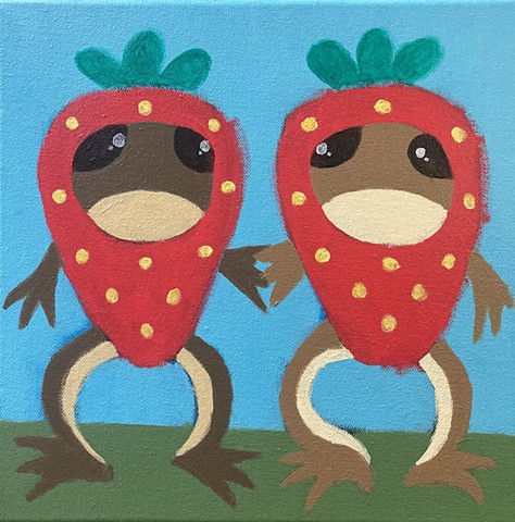 Frogs Dressed As Strawberries