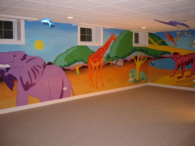 Jungle mural, private residence, Downers Grove, Il.