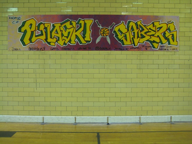The mural installed in the gym at Pulaski Fine Arts Academy.