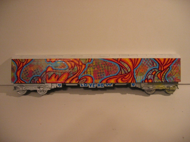 Painted model freight train