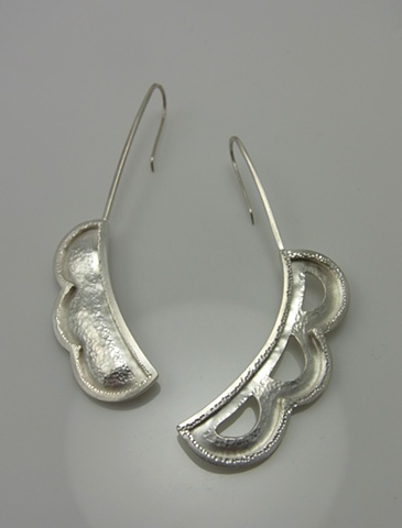 handmade sterling silver forged texture pierced art asymmetrical