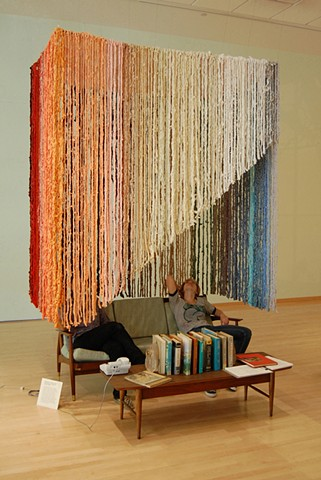 "Rachel Barnes, Kelly Flegal, Tatyana Grechina, Soft Sculpture, 2011. Collaborative ""Couch Intervention"", Temple Contemporary. Crocheted recycled cotton with steel armature. Tyler School of Art, Temple University."