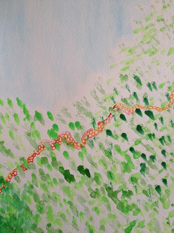 "Floral Path, 2015. Watercolor on paper, 10.6""x13.8""."