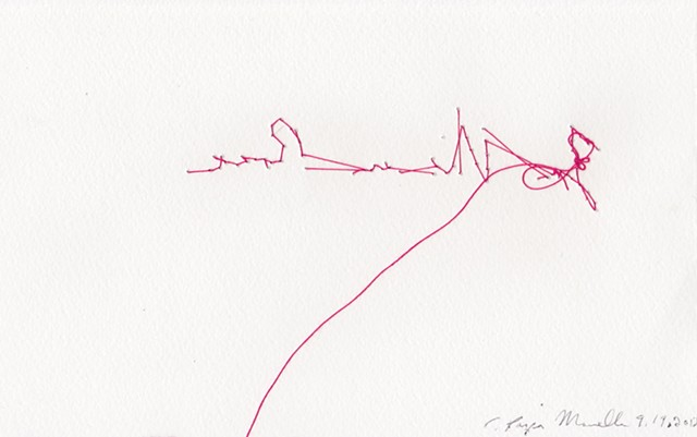 "La Vie en Rose, back, 2012. Embroidery on paper, 5""x8""."