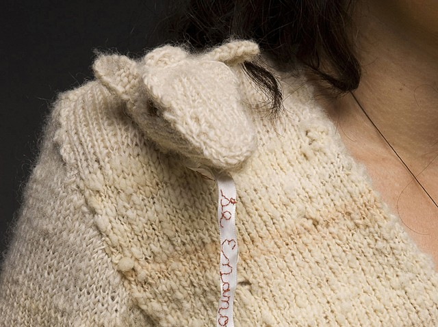 Nicole Campanale, Body Art and Adornment, 2009. Se Enamoraron, detail. Machine and hand knitted wool. Tyler School of Art, Temple University.