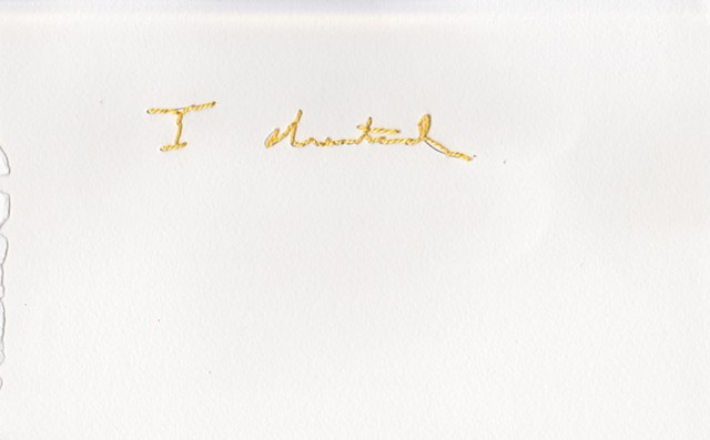 "I cheated, 2012. Embroidery on paper, 5""x8""."