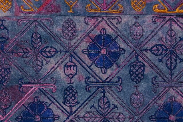 "Paradise, detail, 2016. Hand and digital embroidery on hand painted and indigo and acid dyed raw silk, 23"" x 15.50""."