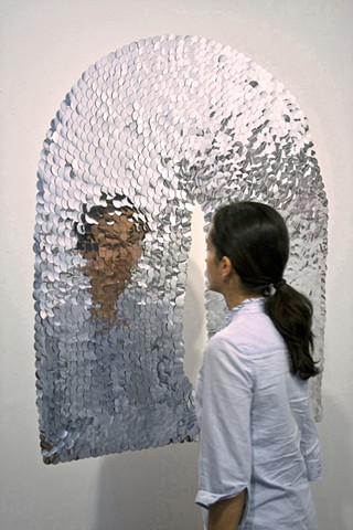 Conviction of Vanity, 2010. Mirror paillettes with viewer participation, dimensions variable.