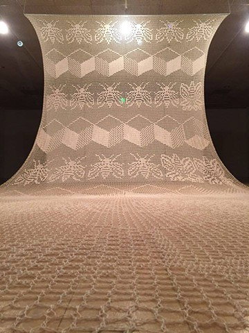 Jennifer Bennett, Fibers MFA Thesis Exhibition, Becoming Aware, Spring 2016. Filet crocheted cotton thread installation. University of Missouri.