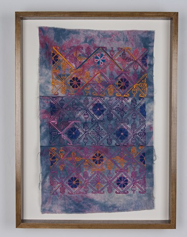 "Paradise, 2016. Hand and digital embroidery on hand painted and indigo and acid dyed raw silk, 23"" x 15.50""."