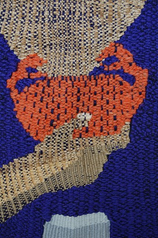 Abigail Potts, Woven Structure II, 2013. Patron Saint of Crabs and Beer, detail. Acrylic yarn tapestry. Tyler School of Art, Temple University.