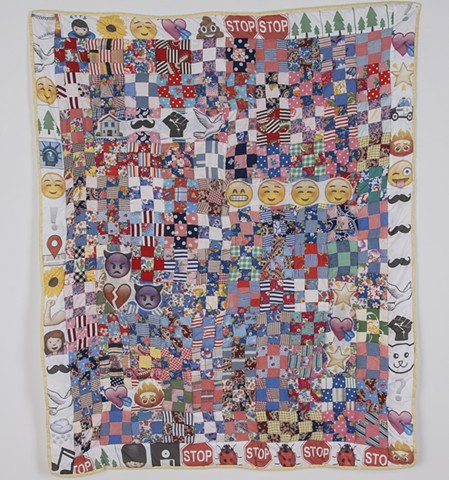 William Billy George, 2nd Year Fibers MFA Candidate, Spring 2016. Institution Revolution. Quilted found piecing and digitally printed cotton. University of Missouri.
