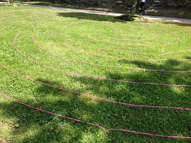 Labyrinth (PINK), 2014. Crocheted ribbon, dimensions variable.