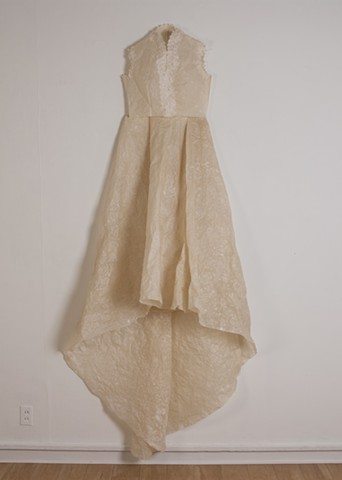 Yes to the Dress, June 10, 2015, 2016. Machine sewn flax and abaca paper and silk organza, dimensions variable.