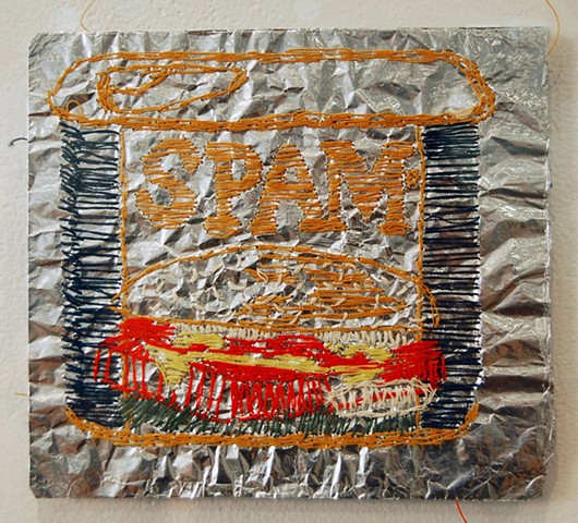 Janice Marin, Structural Embellishment, 2013. Spam. Embroidery on aluminum foil. Tyler School of Art, Temple University.