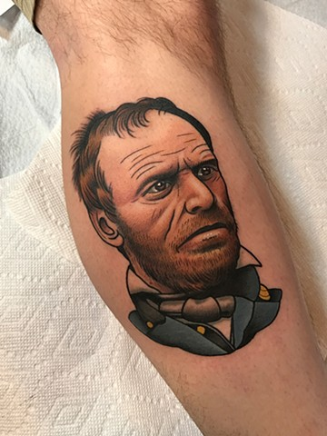 william t.c. sherman portrait tattoo by tattoo artist dave wah at stay humble tattoo company in baltimore maryland the best tattoo shop in baltimore maryland