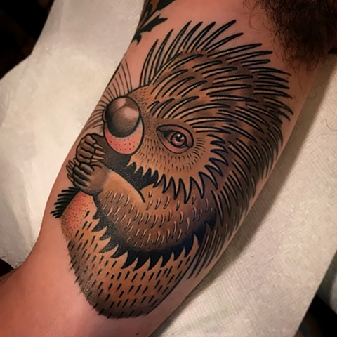 porcupine tattoo by dave wah at stay humble tattoo company in baltimore maryland the best tattoo shop and artist in baltimore maryland