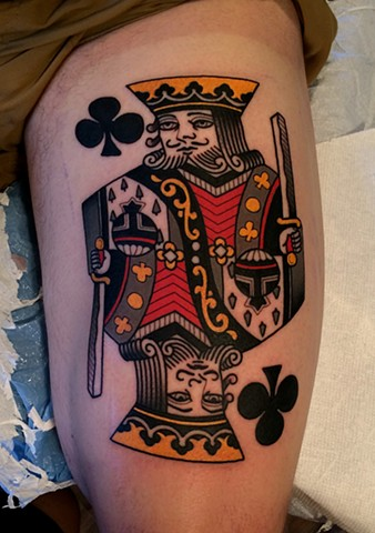 king of clubs tattoo by tattoo artist dave wah at stay humble tattoo company in baltimore maryland the best tattoo shop in baltimore maryland