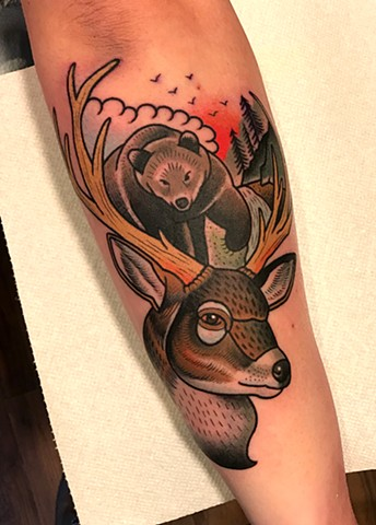 deer tattoo by tattoo artist dave wah at stay humble tattoo company in baltimore maryland the best tattoo shop in baltimore maryland