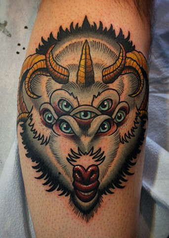 altered states goat head tattoo by dave wah at stay humble tattoo company in baltimore maryland
