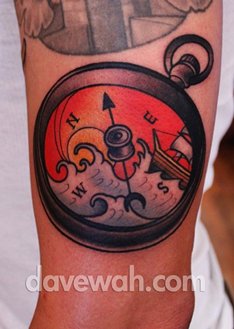 compass tattoo by dave wah at stay humble tattoo company in baltimore maryland the best tattoo shop in baltimore maryland