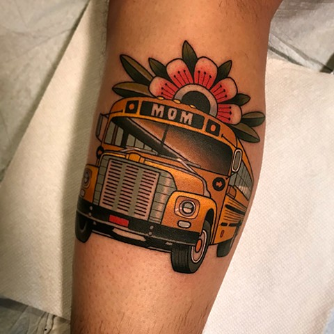 school bus tattoo by dave wah at stay humble tattoo company in baltimore maryland the best tattoo shop and artist in baltimore maryland