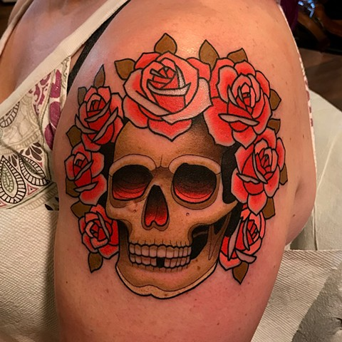 grateful dead bertha portrait tattoo by dave wah at stay humble tattoo company in baltimore maryland the best tattoo shop and artist in baltimore maryland