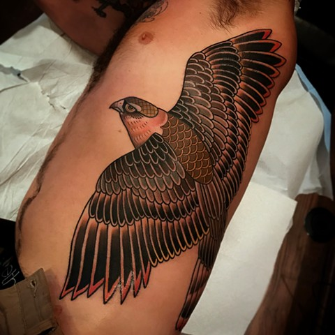falcon tattoo by dave wah at stay humble tattoo company in baltimore maryland the best tattoo shop and artist in baltimore maryland