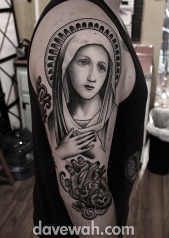 virgin mary tattoo by dave wah at stay humble tattoo company in baltimore maryland the best tattoo shop in baltimore maryland