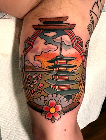 japanese pagoda tattoo by dave wah at stay humble tattoo company in baltimore maryland the best tattoo shop and artist in baltimore maryland