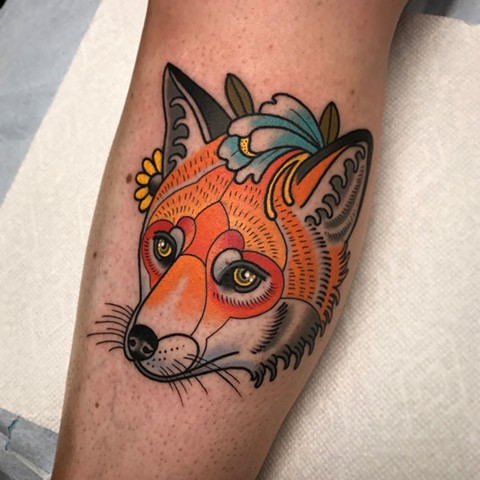 fox tattoo by dave wah at stay humble tattoo company in baltimore maryland the best tattoo shop and artist in baltimore maryland