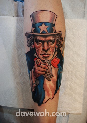 Uncle Sam tattoo by dave wah at stay humble tattoo company in baltimore maryland the best tattoo shop in baltimore maryland