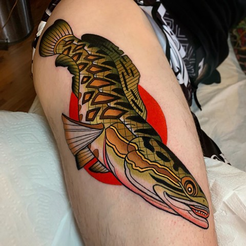Stewart's snake head tattoo