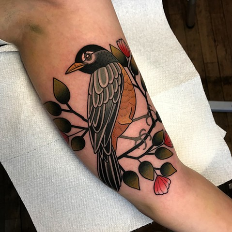 american robin tattoo by dave wah at stay humble tattoo company in baltimore maryland the best tattoo shop and artist in baltimore maryland