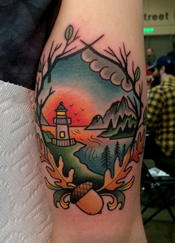 traditional landscape tattoo by dave wah at stay humble tattoo company in baltimore maryland the best tattoo shop in baltimore maryland