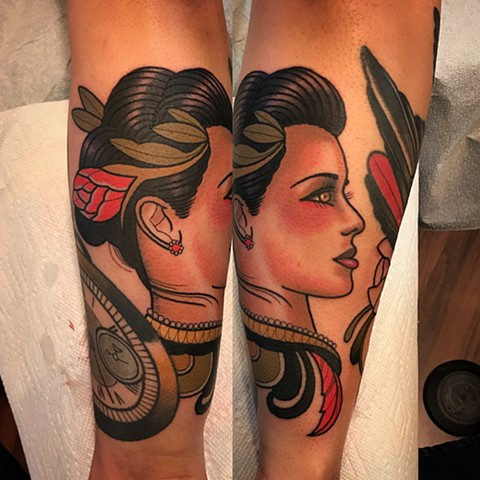girl head tattoo by dave wah at stay humble tattoo company in baltimore maryland the best tattoo shop in baltimore maryland