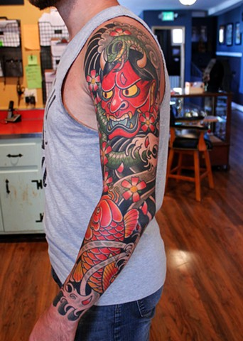 japanese sleeve tattoo by dave wah at stay humble tattoo company in baltimore maryland the best tattoo shop in baltimore maryland
