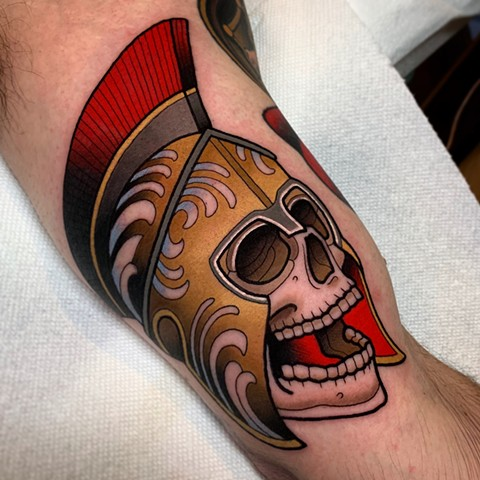 spartan skull tattoo by dave wah at stay humble tattoo company in baltimore maryland the best tattoo shop and artist in baltimore maryland