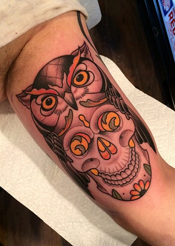owl and skull tattoo by dave wah at stay humble tattoo company in baltimore maryland the best tattoo shop in baltimore maryland