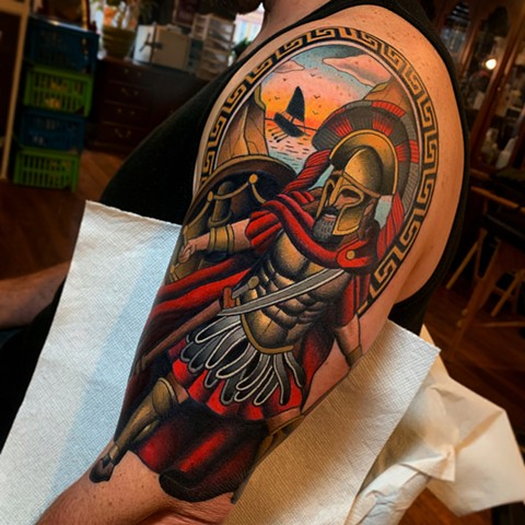 spartan tattoo by dave wah at stay humble tattoo company in baltimore maryland the best tattoo shop and artist in baltimore maryland