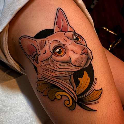 hairless sphinx cat tattoo by dave wah at stay humble tattoo company in baltimore maryland the best tattoo shop and artist in baltimore maryland