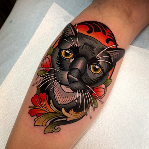 cat portrait tattoo by tattoo artist dave wah at stay humble tattoo company in baltimore maryland the best tattoo shop in baltimore maryland