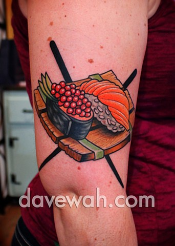 sushi tattoo by dave wah at stay humble tattoo company in baltimore maryland the best tattoo shop in baltimore maryland